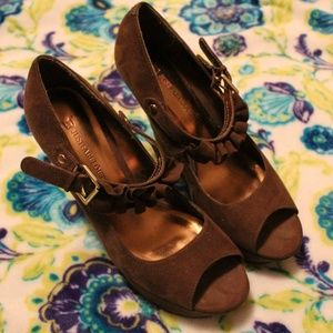 Open toe wedges, Brown Size 9, JustFab